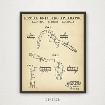 Dental Gifts, Dental Drill Patent Artwork, Dental Decor, Dental Drill Poster, Dental Poster Art, Dental Office Print, Patent Print Download