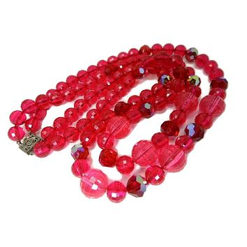 Vintage Raspberry Double Strand Lucite Beaded Necklace Sterling Silver Clasp