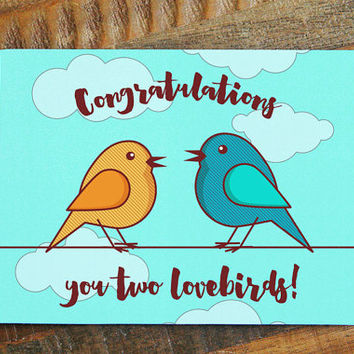"Cute Wedding Card ""Congratulations you two lovebirds!"" - sweet wedding card, bird card, anniversary card, pretty wedding calligraphy card"