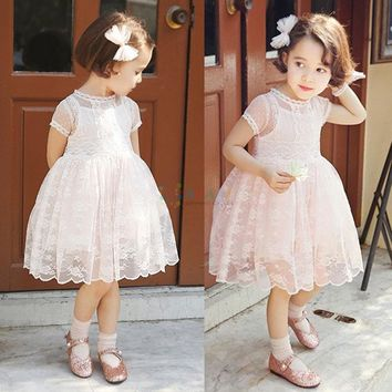 Princess Flower Girl Dress Summer 2017 Tutu Wedding party Birthday Party crochet lace Dresses For Girls Children's Stage costume