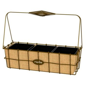 """Panacea™ 83272 Herb Basket with Rustic Woven Wire, Steel, 14"""" Wide"""