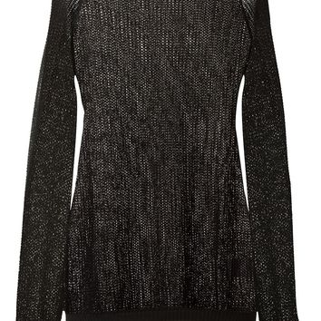 Anthony Vaccarello Shiny Openwork Knit Sweater