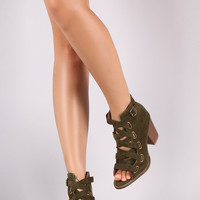 Corseting Laces Peep Toe Booties