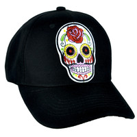 White Sugar Skull Hat Baseball Cap Day of the Dead Clothing