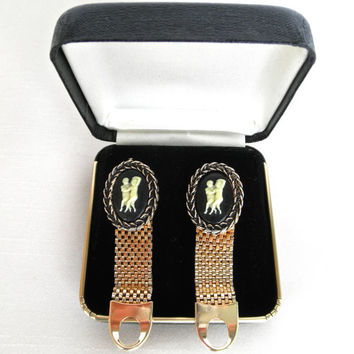 Vintage Cameo Dancers Cuff Links Gold Mesh Wrap Coin Backs Wedding Anniversary Fathers Day Groom Gift Vintage Weddings Mens Cuff Links