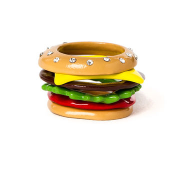 Katy Perry Cheeseburger Stacking Rings Set of 6
