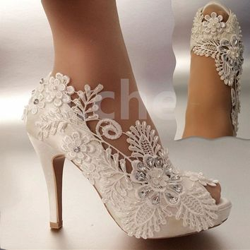 """Women's 3"""" Satin white lace pearls open toe Wedding shoes - Free Shipping"""