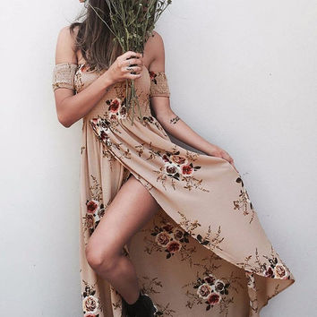 Off Shoulder Women's Dress Sexy Women Summer Vintage Boho Long Maxi Evening Party Beach Dress Floral Sundress Vestidos