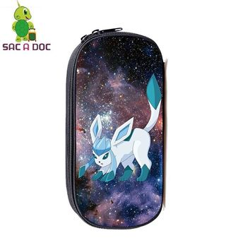 Glaceon Galaxy Space Cosmetic Cases Large Capacity Pencil Holder Kids Boys Girls Stationery Storage Bags Makeup BagKawaii Pokemon go  AT_89_9