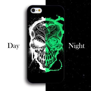 For Apple iPhone 6 Case Noctilucent Flowers Crystal Skull Head logo Phone Case For 4 4s 5 5s 5c 6s 6plus 6s plus 7 7plus 8 8plus