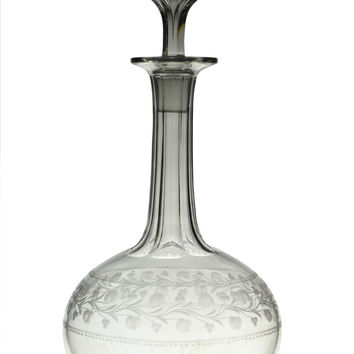 Engraved Port or Sherry Decanter Antique English 19th Century