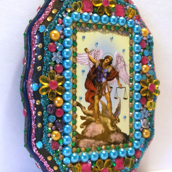 Archangel St Michael Mixed Media Assemblage Day of the Dead Decor Dia de los Muertos Nicho Retablo Shrine