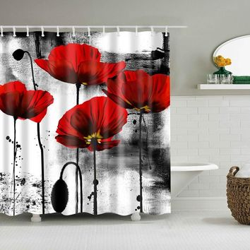 Colorful Nature Flowers Waterproof Polyester Shower Curtains Eco-friendly High Quality Bathroom Curtains Blind For The Bathroom