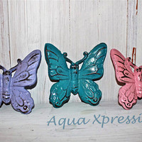 Bright BUTTERFLY Cast Iron Wall Set by AquaXpressions