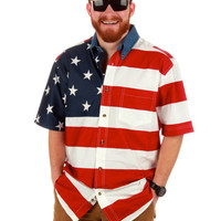 General Patton American Flag Button Down Leisure Shirt