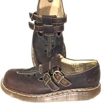 Dr. Martens 10303 Mary Janes Double Buckle Air Wair Cushion Brown Shoes Womens 8 - Preowned