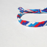 Zig Zag Handmade Friendship Bracelet - Red, White, and Blue - Unisex