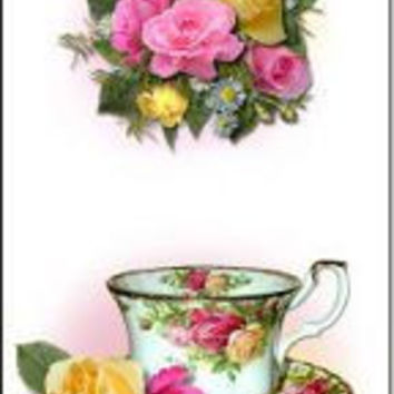 Set of 10 Quantity Bookmarks - Old Country Roses Tea Cups Theme for Tea Party Favors