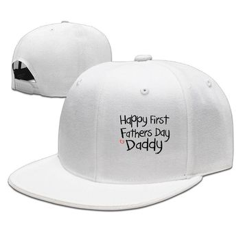 Happy First Fathers Day Daddy Funny Unisex Adult Womens Hip-hop Cap Mens Flat Brim Hats