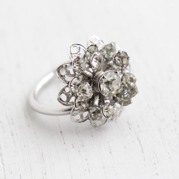 Vintage Clear Rhinestone Ring - Retro Signed Sarah Coventry Symphony 1960s Silver Tone Adjustable Costume Jewelry / Crystal Flower Cluster