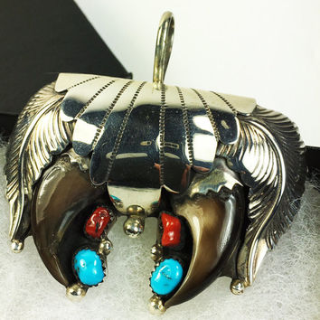 Native American Sterling Silver Two Bear Claws, Turquoise, and Coral - Designer Signed