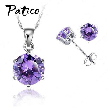 "PATICO New Elegant 8 Colors Cubic Zirconia 925 Sterling Silver Jewelry Sets 6 Claws Stud Earring Pendant Necklace 18""  Chain"