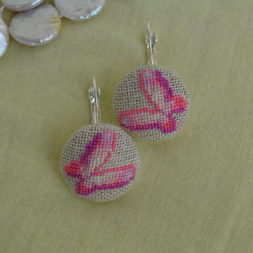 Embroidered Pink Butterfly Cross Stitch Earrings Embroidered Jewelry Unique Earrings Handmade Pink Butterfly