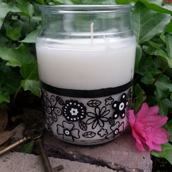 Gardenia Candle, Hand Painted Candle, Black and White Flowers, Decorative Candle, Scented Candle, More Scents Available!