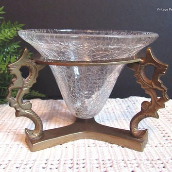 Vintage Brass Dragon Crackle Glass Candle Holder, Made in India, Bohemian / Boho Style Decor