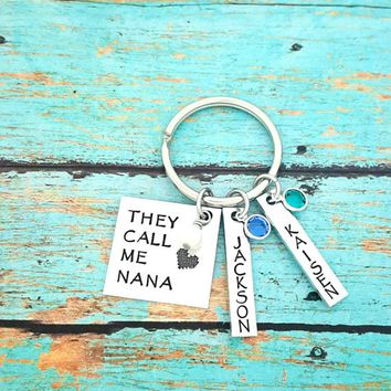 They Call Me Nana, Name Tag Keychains, Swarovski Birthstones, Perfect Gift from the kids
