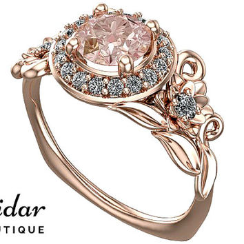 Morganite Engagement Ring,Unique Engagement Ring,Rose Gold Ring,Flower Engagement Ring,Leaves Ring,Vintage Ring,Floral Ring,Lotus Ring,Leaf