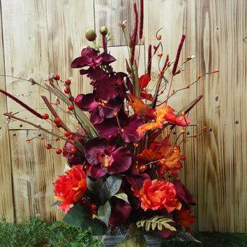 "Elegant Floral Arrangement in Faux Stone Container  - "" Natural Elegance""  Autumn, Thanksgiving Floral,Centerpiece,Gift, Housewarming, Decor"