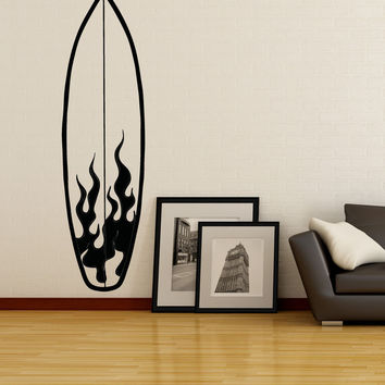 Vinyl Wall Decal Sticker Fire Surfboard #OS_AA1238