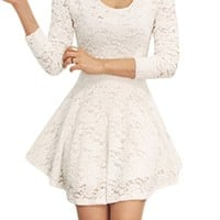 Allegra K Women Scoop Neck Long Sleeves Casual Lace Skater Dress White S