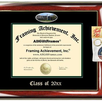AllGiftFrames Cleveland State University Custom Diploma Frame Embossed Best Graduation CSU Degree Frame Double Mat Campus Fisheye Picture Frame Cheap Graduate Gift