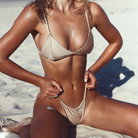 Beach Hot Summer Swimsuit New Arrival Spaghetti Strap Swimwear Gold Sexy Bikini [11616511439]