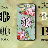 Monogram Roses in Blue Background -iPhone 5 , 5s, 5c,4s, 4,Ipod touch 4, 5, Samsung GS3, GS4, GS5-Silicone Rubber or Hard Plase, cover