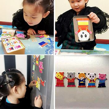 Wooden Magnetic 3D Puzzle Cute Bear Dress Changing Jigsaw Puzzle Cartoon Animal Kids Child Educational Toy Iron Box Jigsaw Puzzle