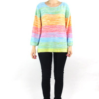 90s Pastel Striped Sweater Slouchy Colorful Striped Sweater Womens Winter Jumper Rainbow Multi Color Knit Spring Jumper (M/L)