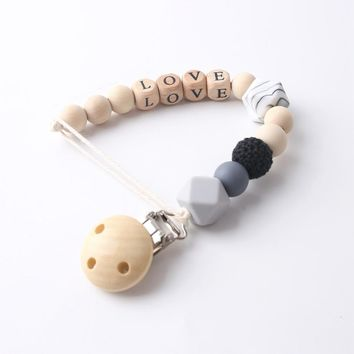 1PC Personalized Baby Gifts Silicone Beads Binky Clip Custom Pacifier Holder Baby Name Chain Wooden Teether Baby Pacifier Clip