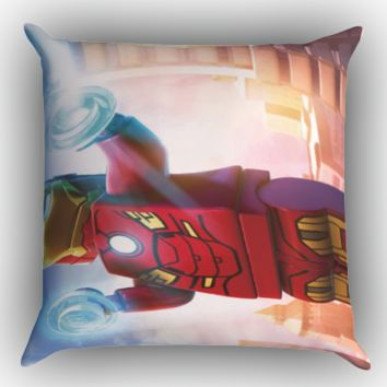 lego marvel superheroes iron man wallpaper Y1227 Zippered Pillows  Covers 16x16, 18x18, 20x20 Inches