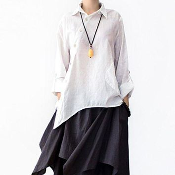 ICIKHY9 SERENELY 2016 Spring Summer Loose Plus Size Original Asymmetry Design Solid Shirt Female Linen Shirt Women Casual Tops
