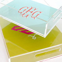 Personalized Lucite Tray - Stacked Monogram