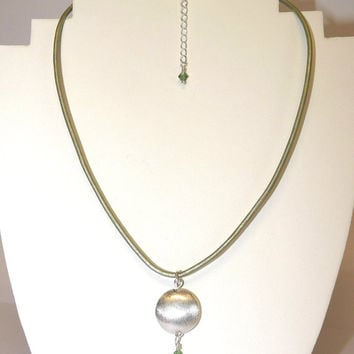 Necklace, Silver Pendant, Swarovski Crystal Drop, Green Leather Cord, Hand Crafted, Spring Gift Idea