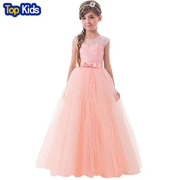Christmas Kids Girls Wedding Lace Long Girl Dress elegant Princess Party Pageant Formal Dress Sleeveless Girls Clothes