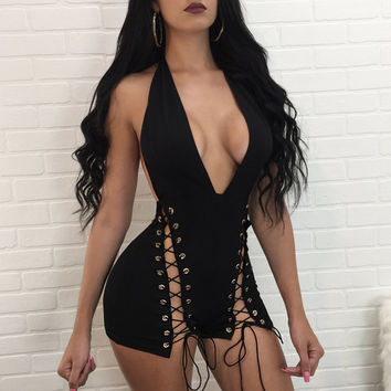 2017 Women Summer hater neck bodycon Playsuits rompers womens party Sexy jumpsuit sleeveless lace-up outfits Black Overalls