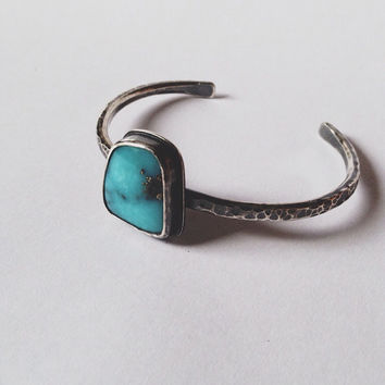SALE Turquoise Cuff Bracelet Hammered Sterling Silver