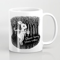 Ghost bunny likes coffee Mug by Laurie A. Conley