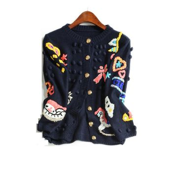 Designer Knitting Sweater Coats 2017 Women Autumn Fashion Luxury Character Embroidery Single Breasted Black Wide-waisted Coat