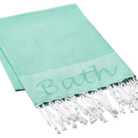 Fouta Embroidered Bath Towel, Aqua, Fouta Towels